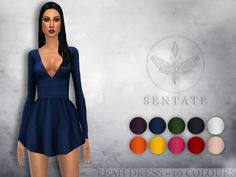 A short, sexy dress with plunging neckline and full skirt. Comes in 10 colours.  Found in TSR Category 'Sims 4 Female Everyday'