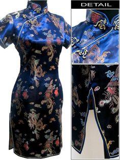 Wholesale Retail Chinese Women s Silk Satin Cheongsam Mini Sexy Qipao Totem  Pattern Size S M L XL XXL e06508b35903