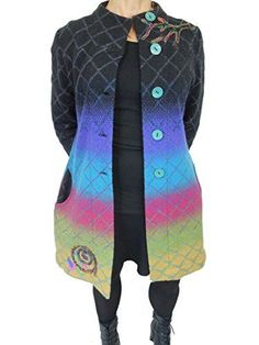 f88908bd4d9 IVKO Long Light Wool Coat in Ombre with Embroidery Black US 12 EUR 42      To view further for this item