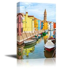 Wall26  Canvas Prints Wall Art  Color Houses with Boats on Burano Island near Venice  Italy  Modern Wall Decor Home Decoration Stretched Gallery Canvas Wrap Giclee Print Ready to Hang  24 x 36 >>> Want additional info? Click on the image(It is Amazon affiliate link).