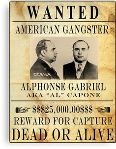 AL CAPONE : Vintage Gangster Wanted Poster Canvas Print