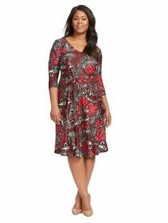 Igigi Womens Dress 14 16 1X Plus Size Red Black Paisley Wear To Work Made In USA | eBay Plus Size Work Dresses, Black Work Dresses, Plus Size Outfits, Fancy Dress Short, Short Dresses, Work Wear, Cold Shoulder Dress, Red Black, Confetti