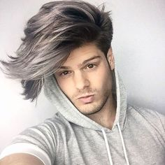 """""""just finished my smokey grey painted in ombré (video coming soon) as my hair transformation part so much love to for making the…"""" Ombre Hair Men, Grey Hair Dye, Long Gray Hair, Ombre Hair Color, Dyed Hair, Gray Ombre, Hipster Hairstyles, Hairstyles Haircuts, Haircuts For Men"""