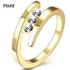 PDJH  Fashion Charm  The Latest Popular rings for women brand jewelry Crystal model Personality contracted