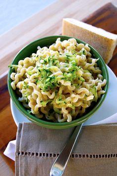 A quick and easy recipe using sauteed zucchini with our DeLallo Alfredo sauce and the fun-loving pasta cut: fusilli col buco.
