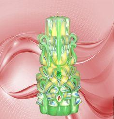 """Купить Резная свеча """"Алладин"""" - ярко-зелёный, горящая свеча, парафиновая свеча, резная свеча"""