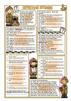 Reading Detective Stories worksheet - FREE worksheet: Reading Comprehension, past simple, past continuous, with questions.