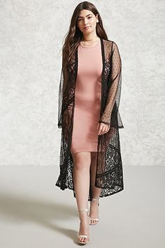 Forever - A sheer mesh kimono featuring a longline silhouette, floral lace and dot mesh panels, an open front, and long bell sleeves.
