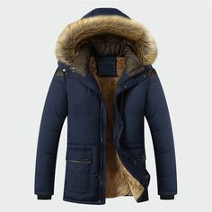 Hajotrawa Mens Warm Outerwear Faux Fur Hoodie Thick Parkas Coat