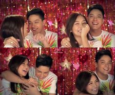 "This is Kathryn Bernardo and Daniel Padilla sharing a laugh together during the recording of the 2015 ABS-CBN Christmas Station ID, ""Thank You for the Love!"" They're just having fun together."