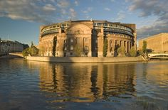 The round Parlament building in Stockholm.