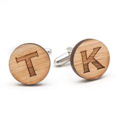 Monogrammed Wood Cufflinks