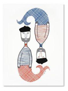 Check out the Jacques Silkscreen Print in Art, Prints, Posters, & Paintings from Wayne Pate for Silkscreen, Nautical Prints, Nautical Design, Mermaids And Mermen, Merfolk, Silk Screen Printing, Ex Libris, Illustrations Posters, Illustration Art