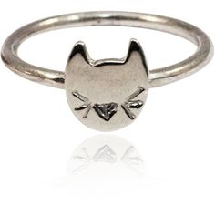 Mei-Li Rose Cat Ring (99 CAD) ❤ liked on Polyvore featuring jewelry, rings, accessories, carved rings, cat ring, sterling silver jewellery, sterling silver cat ring and sterling silver cat jewelry