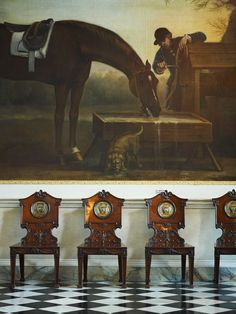 Althorp- View of Wootton Hall- John Wootton, Black and White Marble Floor, 19th Century Hall Chairs, Sporting Art, Equestrian, 18th Century British Art