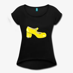 Gelber Plateauschuh aus den Siebzigerjahren Tshirts Online, Shop Now, Shirt Designs, Unique, Shopping, Tops, Women, Style, Fashion