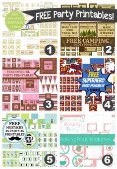 Free party printables (owl, camping, cowgirl, superhero, mustache, baking) -- PartyOn!