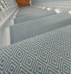 Diamond Flatweave Blue Stair Runner | Hartley & Tissier