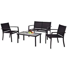 Tangkula Patio Furniture Set 4 PCS Black with 2 Chairs Tempered Glass Coffee Table & Loveseat for Backyard Lawn Pool Balcony Sturdy Armrests for Relaxing Universal Modern Patio Conversation Set Balcony Table And Chairs, Outdoor Tables And Chairs, Table And Chair Sets, Patio Chairs, A Table, Deck Patio, Patio Table, Adirondack Chairs, Dining Chairs