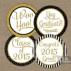 Elegant black & gold glitter Class of 2015 Graduation Cake Toppers to print yourself!    Coordinating party printables can be found here: