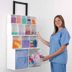 Tilt-out bins keep your supplies dust-free and still easy to access. Clear fronts make it easy to see when to restock.