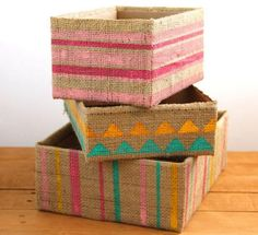 Burlap DIY Storage Boxes | Learn how to make homemade organization ideas that are chic and recycled.
