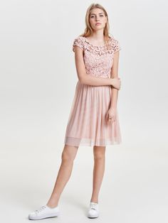 0b41ab7552a413 DETAILED SHORT SLEEVED DRESS Colour Pastel   Rose Smoke Composition 43%  Polyester