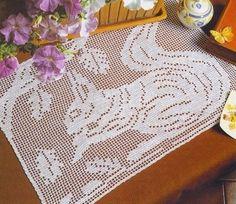 Cute squirrel crochet filet work with diagram