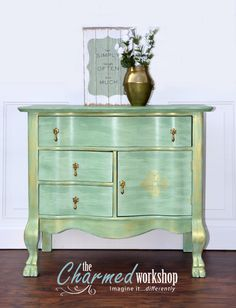 CUSTOM: This wash stand/dresser got a Moroccan-themed, sea foam, metallic gold makeover. Re-loved by The Charmed Workshop. Imagine it...differently.