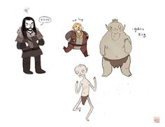 More doodles from The Hobbit, all from memory, which explains the most adorable Goblin King you ever saw. Dawww.