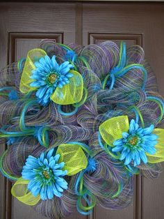 Spring Deco Mesh Wreaths   Items similar to Spring deco mesh wreath on Etsy