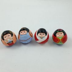 Vintage Okiagari Japanese Asian Tumbler Roly-Poly Dolls Lot/4 w/ Original Box