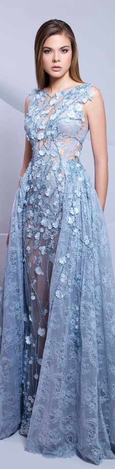 Tarek Sinno sky blue baby blue couture dress gown 2015 // Pinned by Dauphine… Couture Dresses Gowns, Fashion Dresses, Beautiful Gowns, Beautiful Outfits, Elegant Dresses, Pretty Dresses, Blue Fashion, High Fashion, Luxury Fashion