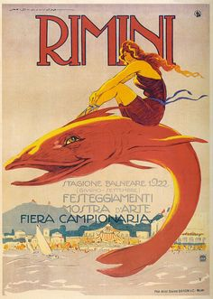 A poster from 1922 advertising the beach in Rimini.  Designed by Marcello Dudovich.