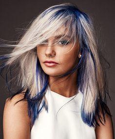 niebieskie ombre na blond włosach