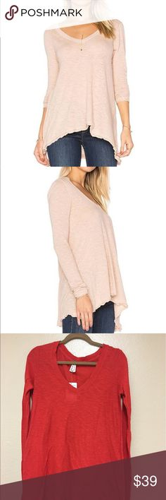🆕Free People || Free Anna Women's Tee - Coral, S I am selling a loose fitting long sleeve V-neck tee. This top is slightly sheer and longer in the back.  Second to last picture shows my hand underneath the garments. Bundle and save 20% off 3+ items. 🚫No trade 🚫No transactions outside Poshmark please. Thank you! Free People Tops Tees - Long Sleeve