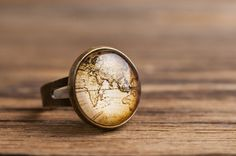 Vintage map ring adjustable ring statement ring by SomeMagic, $9.50