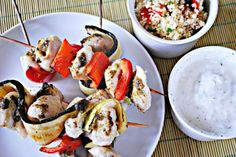 Fish Skewers with Pesto and Vegetables.