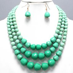 Bold Chunky Shades of Green Layered Earrings Necklace Set Costume Jewelry