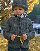 Cabled Cardigan pattern for toddler boys or girls