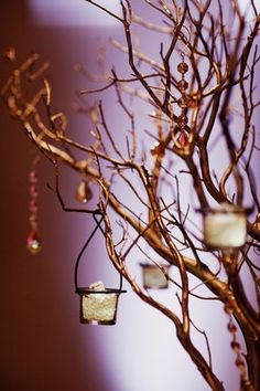 branch centerpieces with candles & teardrop crystals