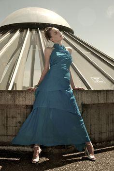 Floor Length Draped Halter Gown Alternative Bridal by elikadesigns Wedding Dress Resale, Wedding Dress Sash, New Wedding Dresses, Backless Gown, Halter Gown, Marine Uniform, Drape Gowns, Blue Dresses, Formal Dresses