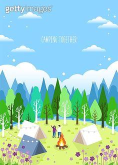 일러스트, 벡터파일 (일러스트), 봄, 캠핑, 계절, 소풍 (아웃도어) Travel Clipart, Plant Background, Travel Illustration, Mountain Landscape, Illustrations And Posters, Character Design, Clip Art, Camping, Graphic Design