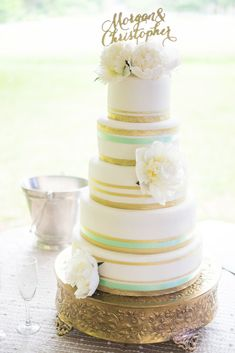 Five-Tiered Wedding Cake with Mint and Gold Accents | Cake Design by DebraNo Regrets EventsScobey Photography