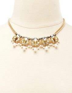 Faceted Stone & Pearl Statement Necklace: Charlotte Russe