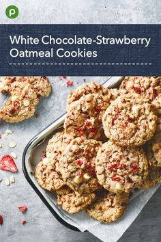 Publix Recipes, Sweet Recipes, Baking Recipes, Cookie Recipes, Delicious Desserts, Yummy Food, Easy Desserts, White Chocolate Strawberries, Strawberry Oatmeal