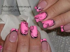 Pink and black #naildesign