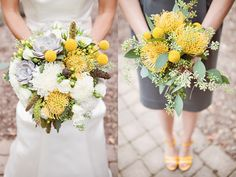 Gray and yellow wedding bouquets!