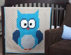 Crochet Owl C2C Baby Blanket