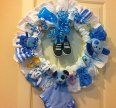 Baby Shower Diaper Wreath for Baby Boy #Handmade